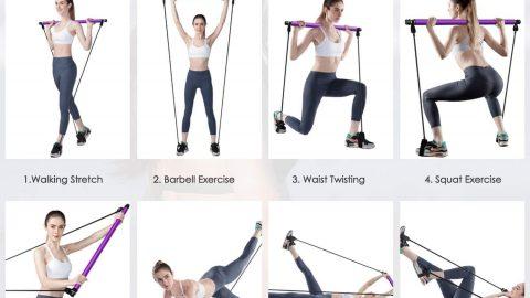 Pilates Bar Kit with Resistance Band Portable