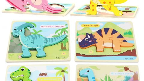 Toddler Toys Kids Dinosaur Puzzles for 2-4 Year Olds, Preschool Learning Educational Toys for Boys and Girls, Wooden Puzzles with 6 Pack Dinosaurs